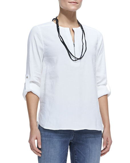 Zip-Front Linen-Stretch Tunic, Petite