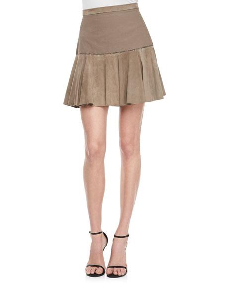 Suede Flare-Hem Skirt