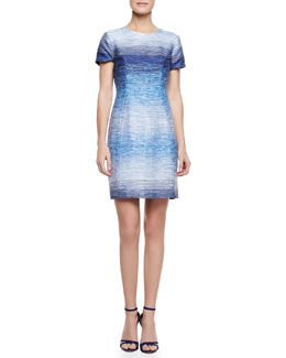 Shoshanna Sima Ombre Tweed Dress, Blue/White