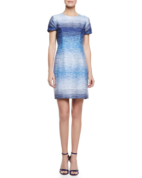 Sima Ombre Tweed Dress, Blue/White