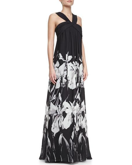 Floral-Print Crisscross Halter-Neck Gown