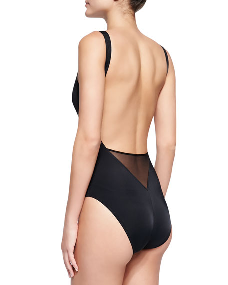 Mesh-Inset Plunging One-Piece