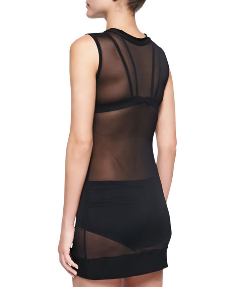 Sheer Mesh Sleeveless Coverup, Black