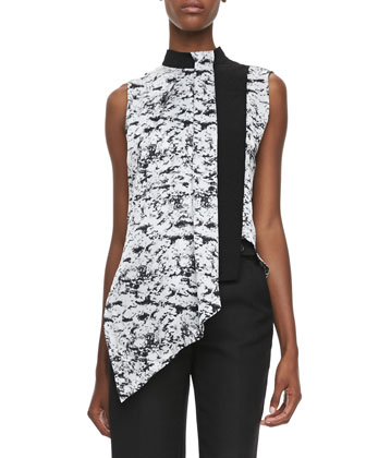 Graphic-Print Overlay Blouse