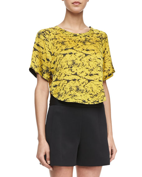 Graphic-Print Cropped Blouse