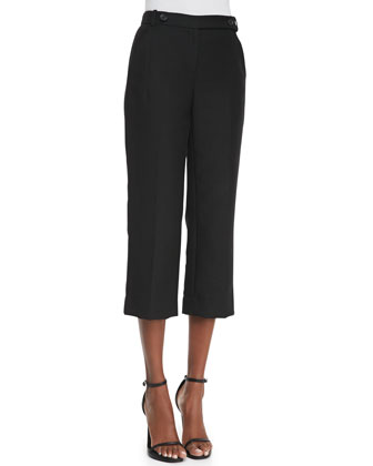 Cropped Animal Jacquard Trousers
