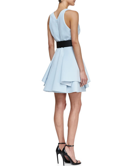 Neoprene V-Neck Flounce Dress