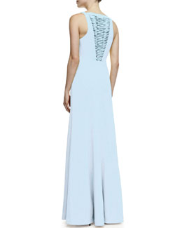 Robert Rodriguez Vertebrae B Woven-Panel Sleeveless Gown