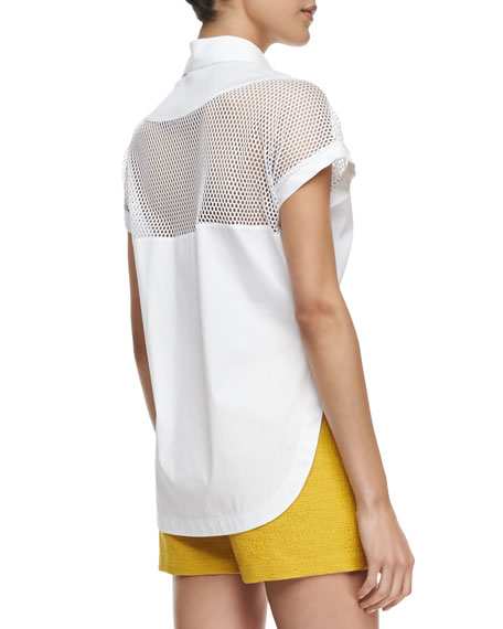 Net-Inset Cropped Shirt