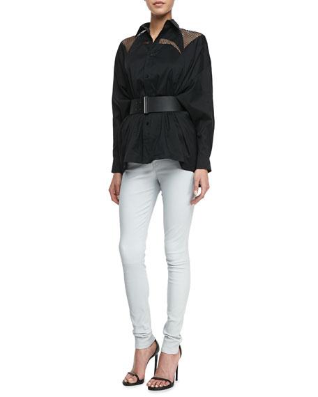 Stretch Lambskin Leather Jeans