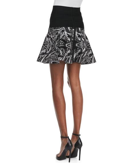 Marbled-Intarsia Flounce Skirt