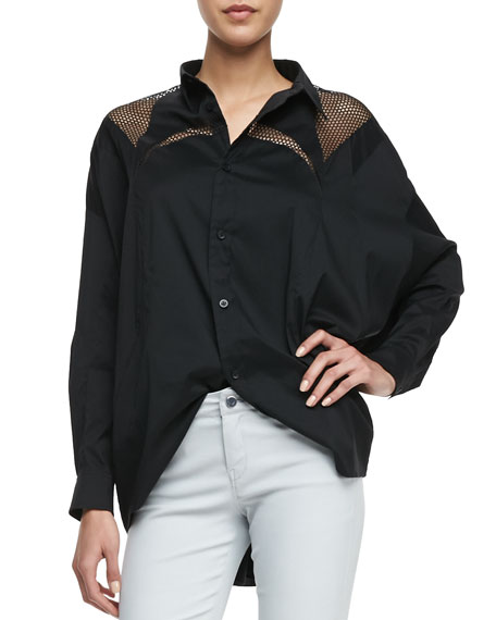 Net-Inset Oversized Shirt