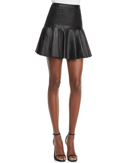 Cane-Weave Leather Short Skirt