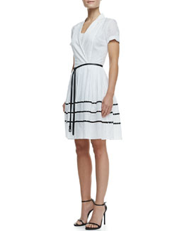 Halston Heritage Lace-Inset Short-Sleeve Shirtdress