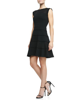 Halston Heritage Lace-Inset Cap-Sleeve Dress