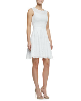 Halston Heritage Sleeveless Cotton Eyelet Embroidered Lace Dress