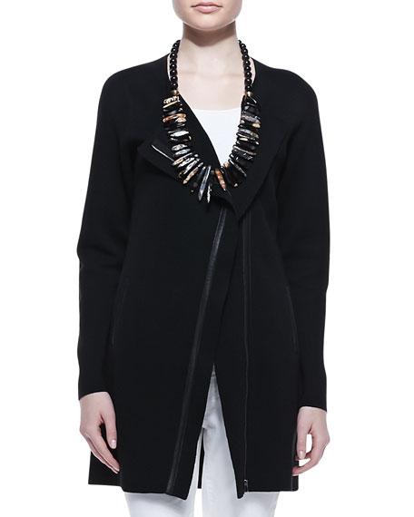 Leather-Trim Long Jacket
