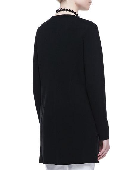 Leather-Trim Long Jacket, Petite