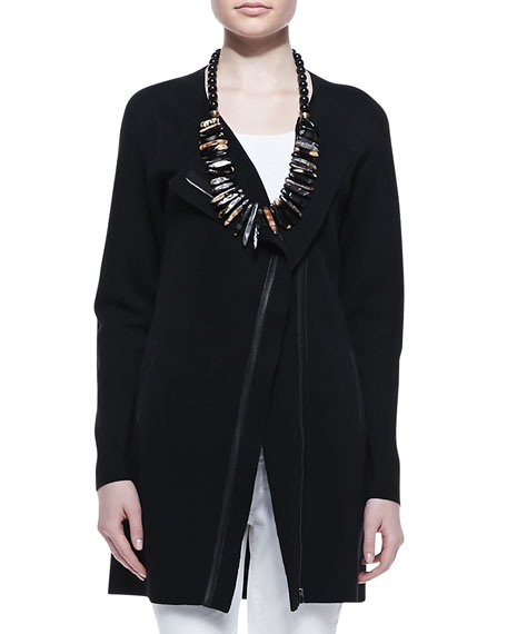 Leather-Trim Long Jacket, Women's