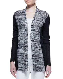 Eileen Fisher Classic Marled Ribbed-Sleeve Long Cardigan