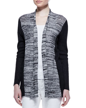Classic Marled Ribbed-Sleeve Long Cardigan