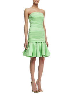 Halston Heritage Strapless Taffeta Dress