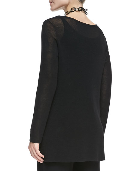 Linen-Blend Long-Sleeve Tunic, Black
