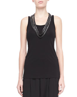 Eileen Fisher Silk Jersey Long Slim Camisole, Black, Women's