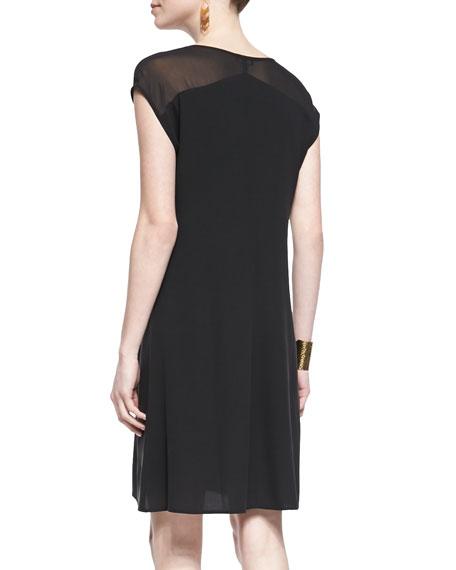 Short-Sleeve Sheer-Shoulder Silk Dress, Black