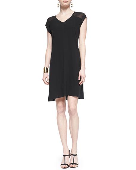 Short-Sleeve Sheer-Shoulder Silk Dress, Black, Petite