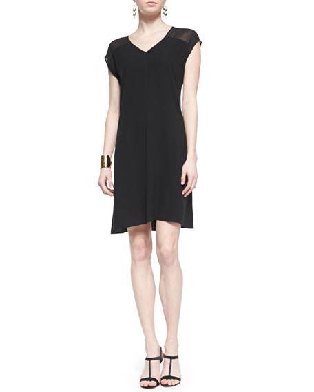 Short-Sleeve Sheer-Shoulder Silk Dress, Black, Women's