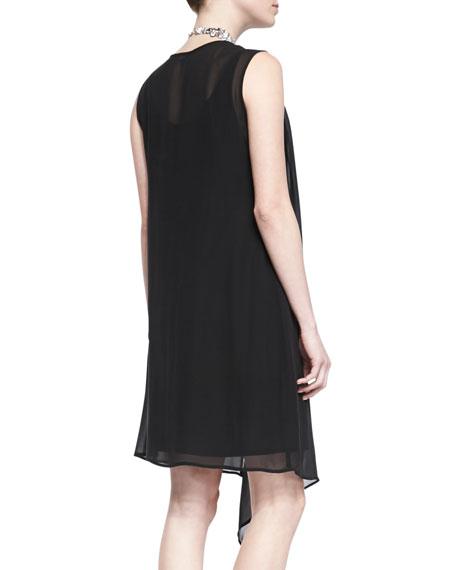 Sleeveless Sheer Cascading Dress, Black