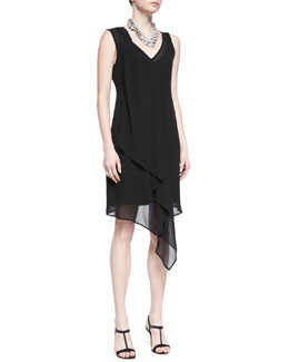 Eileen Fisher Sleeveless Sheer Silk Cascading Dress, Black, Petite