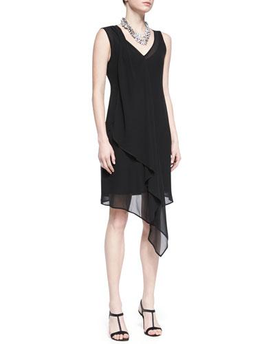 Eileen Fisher Sleeveless Sheer Silk Cascading Dress, Black, Petite