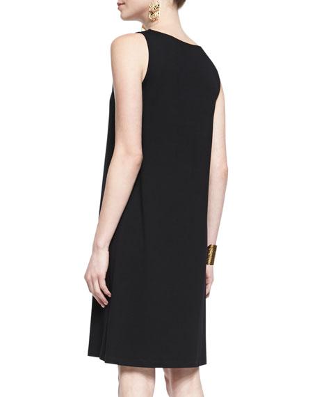Sleeveless Jersey Shift Dress, Black