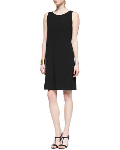 Eileen Fisher Sleeveless Jersey Shift Dress, Black, Petite