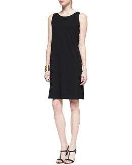 Eileen Fisher Sleeveless Jersey Shift Dress, Black, Women's