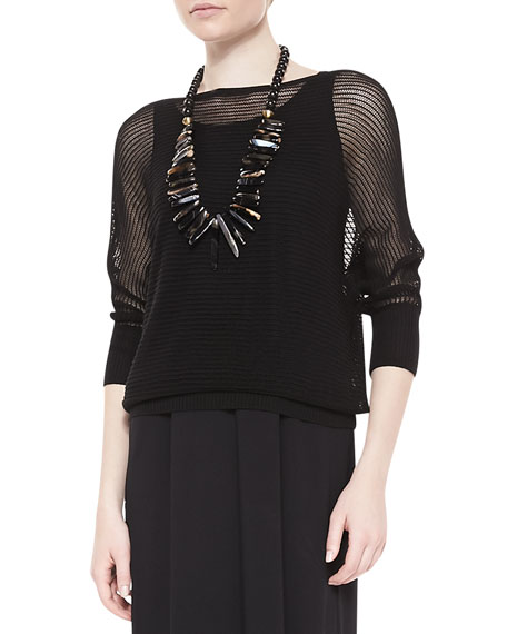 3/4-Sleeve Mesh Knit Top, Black, Petite