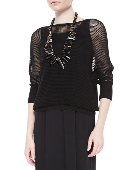 3/4-Sleeve Mesh Knit Top, Black, Petite