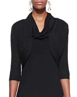 Eileen Fisher Half-Sleeve Shrug, Black, Petite