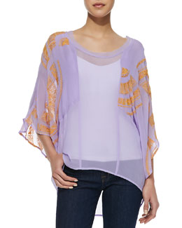 12th Street by Cynthia Vincent Embroidered Short-Sleeve Dolman Top