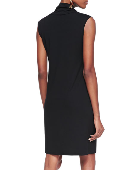 Sleeveless Cowl-Neck Dress, Black, Petite