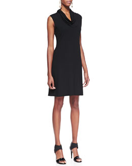 Eileen Fisher Sleeveless Cowl-Neck Dress, Black, Petite