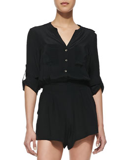 12th Street by Cynthia Vincent Silk Long-Sleeve Romper