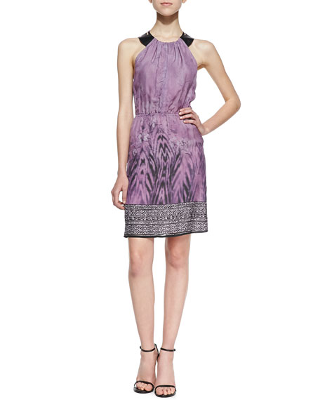 Silk W/Leather Cutout Racerback Dress