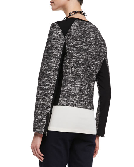 Tweedy Zip-Front Short Jacket