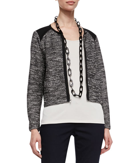 Tweedy Zip-Front Short Jacket, Petite