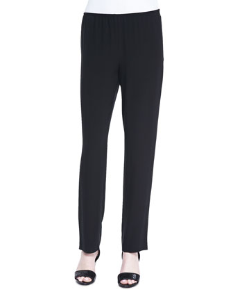 Silk Georgette Slim Pants, Black, Women's