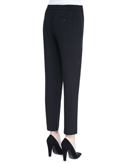 Cropped Crepe Drawstring Pants