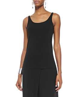 Eileen Fisher Long Jersey Camisole, Black, Petite